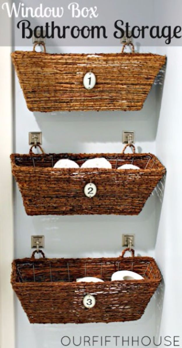 DIY Bathroom Storage Ideas - Wicker Window Boxes - Best Solutions for Under Sink Organization, Countertop Jars and Boxes, Counter Caddy With Mason Jars, Over Toilet Ideas and Shelves, Easy Tips and Tricks for Small Spaces To Organize Bath Products http://diyjoy.com/diy-bathroom-storage-ideas