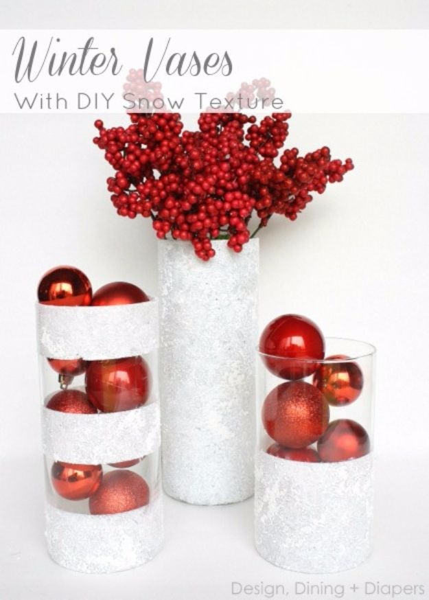Cheap DIY Christmas Decor Ideas and Holiday Decorating On A Budget - Winter Vases - Easy and Quick Decorating Ideas for The Holidays - Cool Dollar Store Crafts for Xmas Decorating On A Budget - wreaths, ornaments, bows, mantel decor, front door, tree and table centerpieces #christmas #diy #crafts