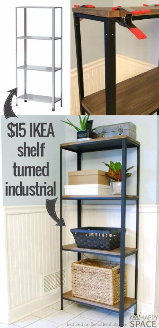 IKEA Hacks For The Bedroom - Wood And Metal IKEA Hack Industrial Shelf - Best IKEA Furniture Hack Ideas for Bed, Storage, Nightstand, Closet System and Storage, Dresser, Vanity, Wall Art and Kids Rooms - Easy and Cheap DIY Projects for Affordable Room and Home Decor #ikeahacks #diydecor #bedroomdecor
