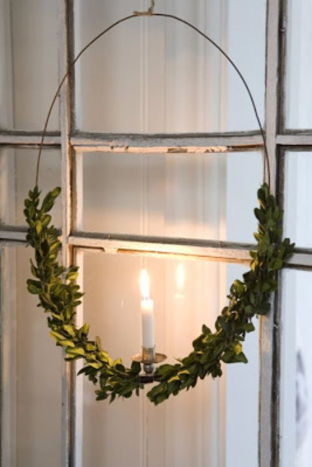 Best DIY Home Decor Crafts - Wreath Candle Holder - Easy Craft Ideas To Make From Dollar Store Items - Cheap Wall Art, Easy Do It Yourself Gifts, Modern Wall Art On A Budget, Tabletop and Centerpiece Tutorials - Cool But Affordable Room and Home Decor With Step by Step Tutorials #diyhomedecor