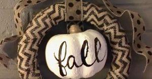 Pumpkin Fall Wreath Made With Dollar Store Supplies