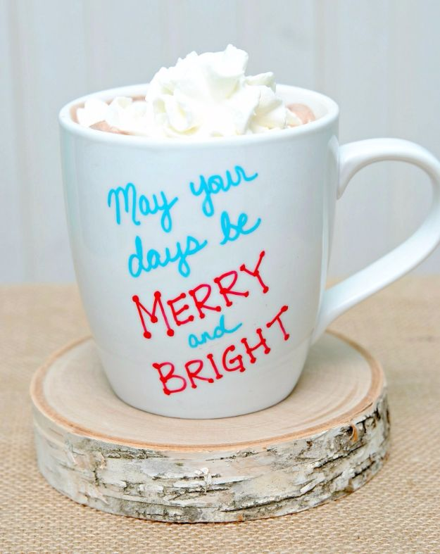 DIY Coffee Mugs - 15-Minute Holiday Mugs - Easy Coffee Mug Ideas for Homemade Gifts and Crafts - Decorate Your Coffee Cups and Tumblers With These Cool Art Ideas - Glitter, Paint, Sharpie Craft, Nail Polish Water Marble and Teen Projects http://diyjoy.com/diy-coffee-mugs