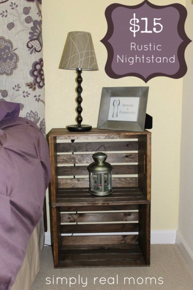 DIY Nightstands for the Bedroom - $15 Rustic Nightstand - Easy Do It Yourself Bedside Tables and Furniture Project Ideas - Thrift Store Makeovers For Your Room and Bed Side Night Stand - Storage for Books and Remotes, Cute Shabby Chic and Vintage Decor - Step by Step Tutorials and Instructions http://diyjoy.com/diy-nightstands-bedroom