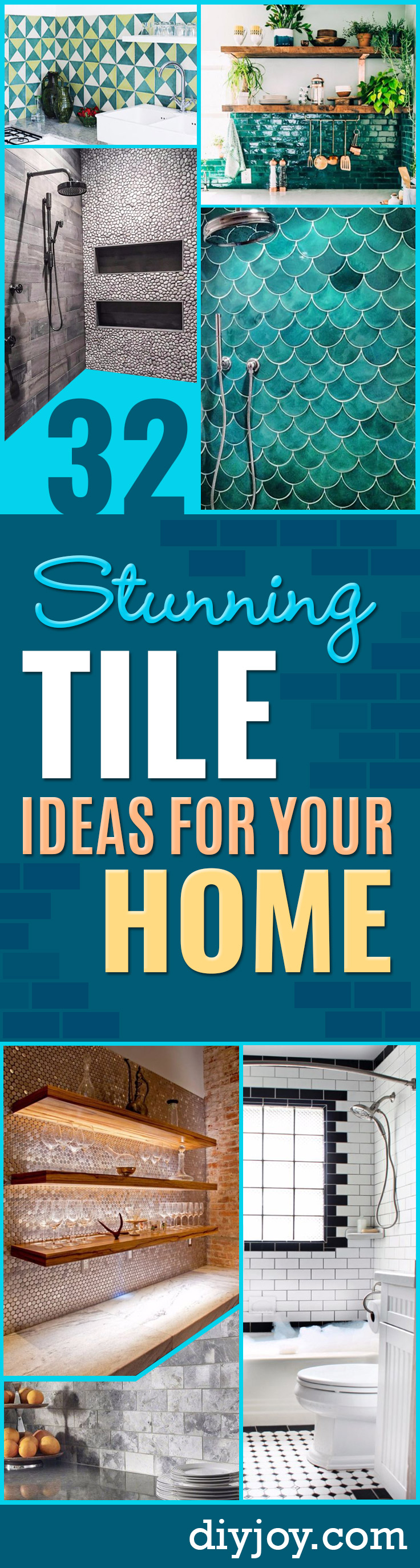DIY Tile Ideas - Creative Crafts for Bathroom, Kitchen, Living Room, and Fireplace - Awesome Shower and Bathtub Ideas - Fun and Easy Home Decor Projects - How To Make Rustic Entryway Art