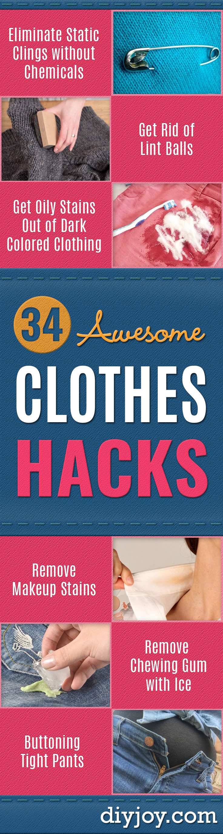 Clothes Hacks - DIY Fashion Ideas For Women and For Every Girl - Easy No Sew Hacks for Men's Shirts - Washing Machines Tips For Teens - How To Make Jeans For Fat People - Storage Tips and Videos for Room Decor http://diyjoy.com/diy-clothes-hacks