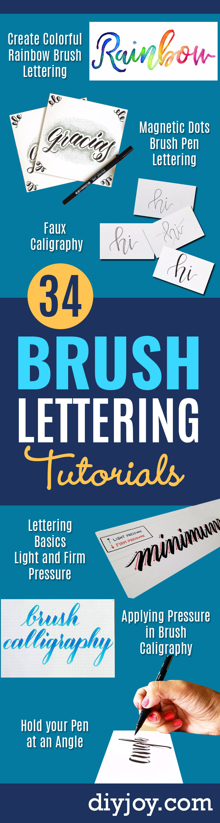 Brush Lettering Tutorials - Simple and Fun Calligraphy Tutorial Videos - How To Paint the Alphabet in Calligraphy Handwriting with Pens, Watercolors, Adobe Illustrator and Sharpie - Typography Tips and Help http://diyjoy.com/brush-lettering-tutorials