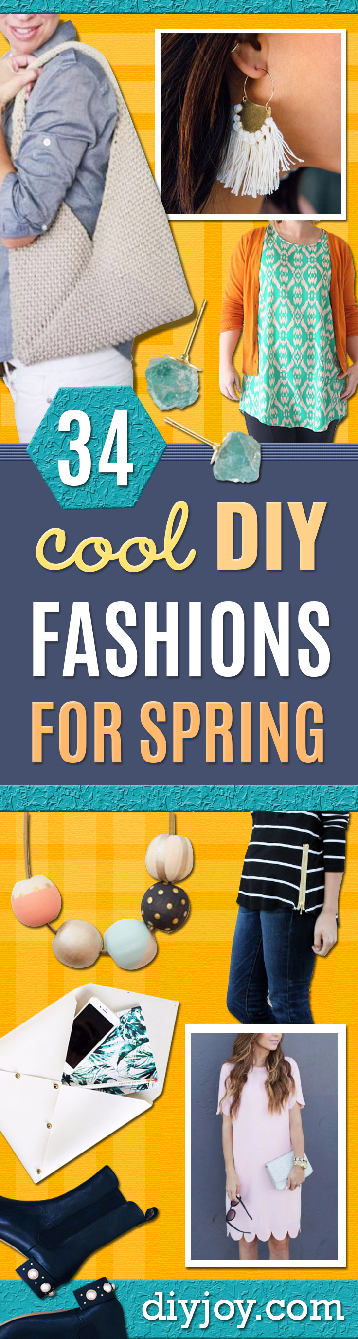 DIY Fashion for Spring - Easy Homemade Clothing Tutorials and Things To Make To Wear - Cute Patterns and Projects for Women to Make, T-Shirts, Skirts, Dresses, Shorts and Ideas for Jeans and Pants - Tops, Tanks and Tees With Free Tutorial Ideas and Instructions http://diyjoy.com/fashion-for-spring