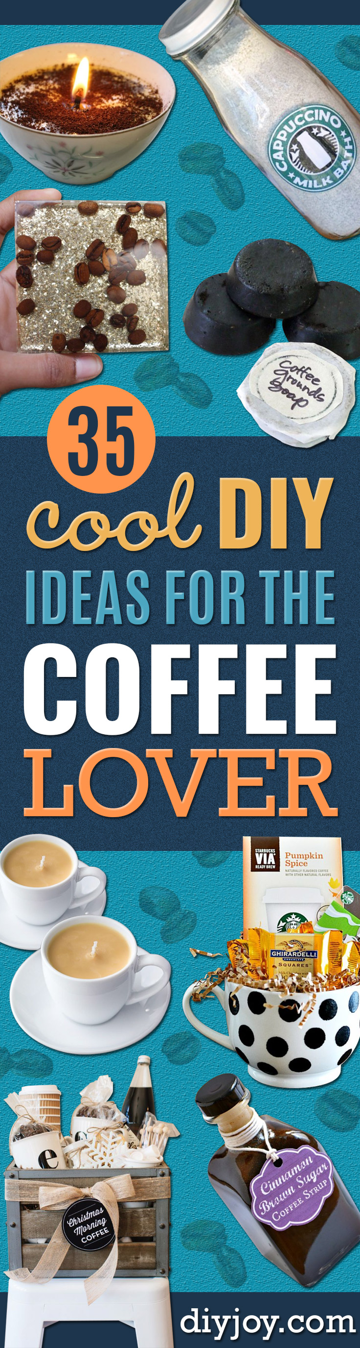 DIY Ideas for The Coffee Lover - Easy and Cool Gift Ideas for People Who Love Coffee Drinks - Coaster, Cups and Mugs, Tumblers, Canisters and Do It Yourself Gift Ideas - Gift Jars and Baskets, Fun Presents to Make for Mom, Dad and Friends http://diyjoy.com/diy-ideas-coffee-lover