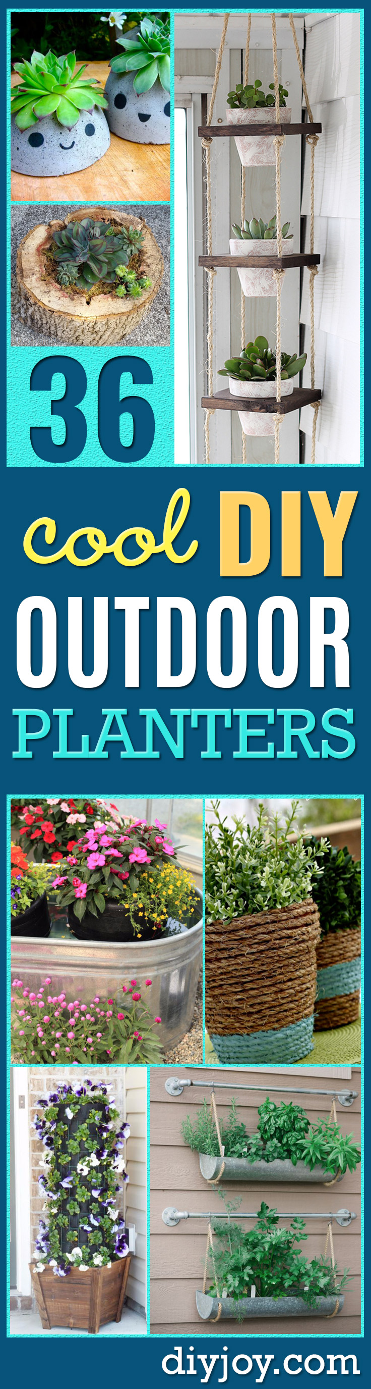 DIY Outdoor Planters - Easy Planter Ideas to Make for The Porch, Pation and Backyard - Your Plants Will Love These DIY Plant Holders, Potting Ideas and Planter Boxes - Gardening DIY for Big and Small Plants Outdoors - Concrete, Wood, Cheap, Simple, Modern and Rustic Projects With Step by Step Instructions http://diyjoy.com/diy-oudoor-planters