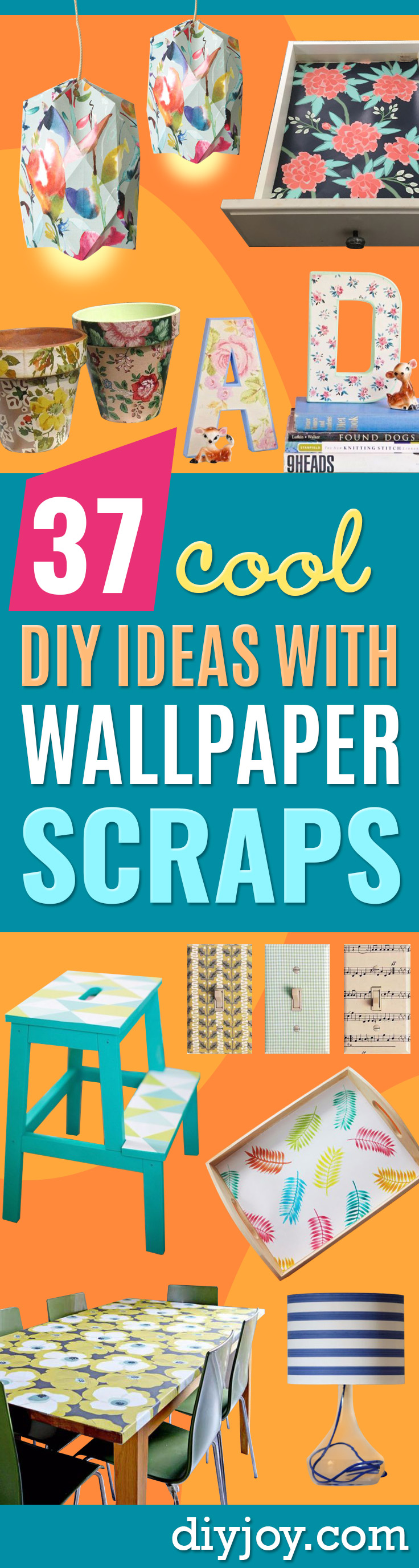 DIY Ideas for Wallpaper Scraps - Cute Projects and Easy DIY Gift Ideas to Make With Leftover Wall Paper - Fun Home Decor, Homemade Wall Art Idea Tutorials, Creative Ways to Use Old Wallpapers - Cool Crafts for Men, Women and Teens http://diyjoy.com/diy-ideas-wallpaper-scraps
