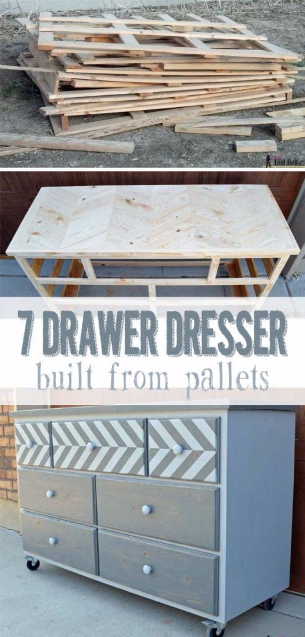 DIY Dressers - 7-Drawer Dresser With Chevron Top - Simple DIY Dresser Ideas - Easy Dresser Upgrades and Makeovers to Create Cool Bedroom Decor On A Budget- Do It Yourself Tutorials and Instructions for Decorating Cheap Furniture - Crafts for Women, Men and Teens http://diyjoy.com/diy-dresser-ideas