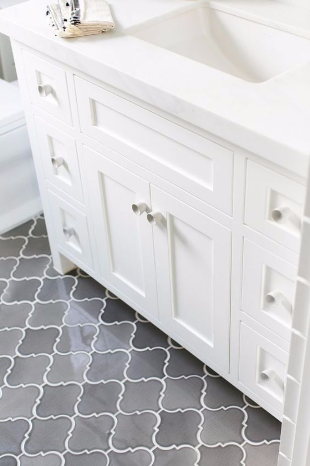 DIY Tile Ideas - Arabesque Ombre Grey Floor Tiles - Creative Crafts for Bathroom, Kitchen, Living Room, and Fireplace - Awesome Shower and Bathtub Ideas - Fun and Easy Home Decor Projects - How To Make Rustic Entryway Art #homeimprovement #diy