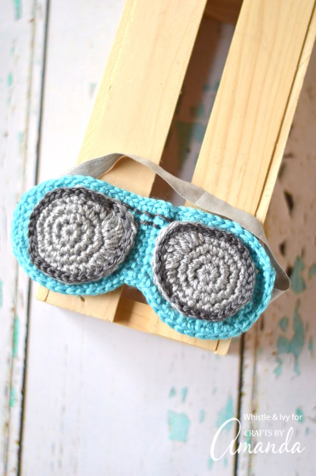 DIY Sleep Masks - Aviator Sunglasses Sleep Mask Crochet - Cute and Easy Ideas for Making a Homemade Sleep Mask - Best DIY Gift Ideas for Her - Cool Crafts To Make and Sell On Etsy - Creative Presents for Girls, Women and Teens - Do It Yourself Sleeping With Words, Accents and Fun Accessories for Relaxing   #diy #diygifts