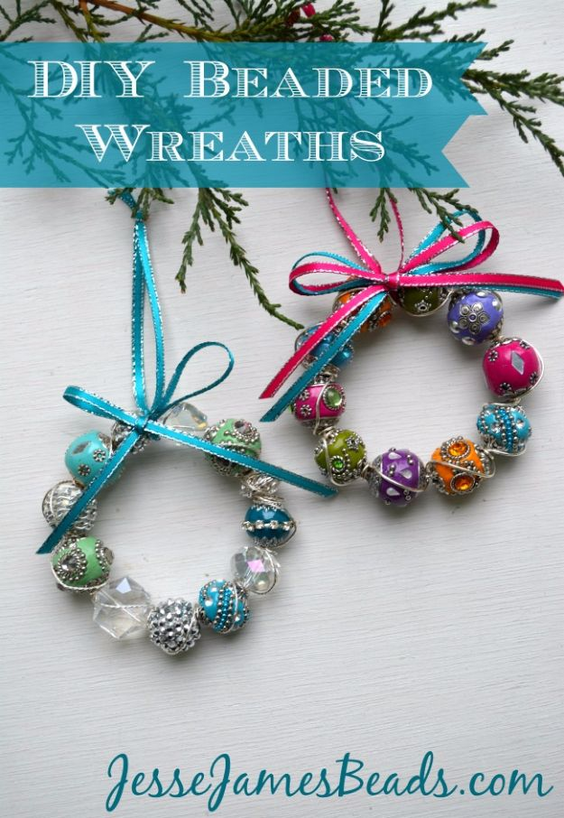 DIY Ideas With Beads - Beaded Wreath Ornaments - Cool Crafts and Do It Yourself Ideas Made With Beads - Outdoor Windchimes, Indoor Wall Art, Cute and Easy DIY Gifts - Fun Projects for Kids, Adults and Teens - Bead Project Tutorials With Step by Step Instructions - Best Crafts To Make and Sell on Etsy