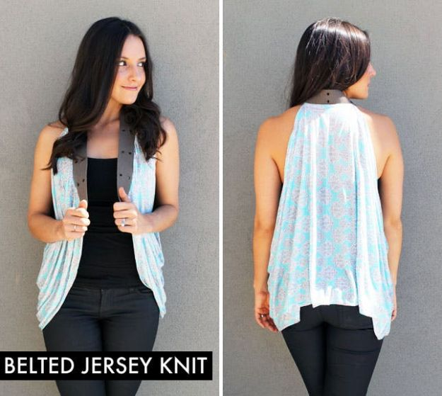 DIY Fashion for Spring - Belted Jersey Knit - Easy Homemade Clothing Tutorials and Things To Make To Wear - Cute Patterns and Projects for Women to Make, T-Shirts, Skirts, Dresses, Shorts and Ideas for Jeans and Pants - Tops, Tanks and Tees With Free Tutorial Ideas and Instructions http://diyjoy.com/fashion-for-spring