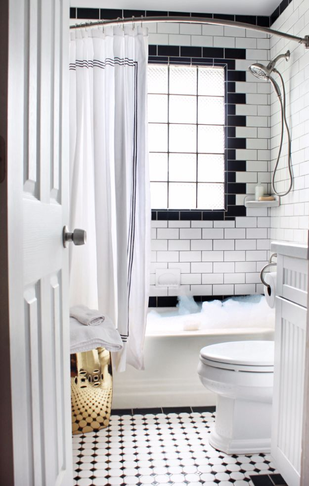 DIY Tile Ideas - Black And White Tiles - Creative Crafts for Bathroom, Kitchen, Living Room, and Fireplace - Awesome Shower and Bathtub Ideas - Fun and Easy Home Decor Projects - How To Make Rustic Entryway Art http://diyjoy.com/diy-tile-ideas