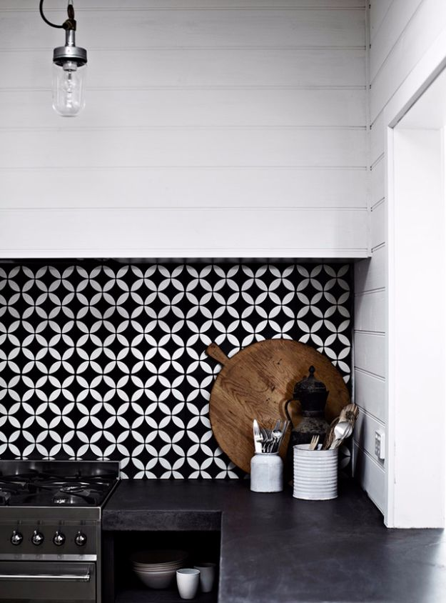 DIY Tile Ideas - Boldly Patterned Kitchen Tile - Creative Crafts for Bathroom, Kitchen, Living Room, and Fireplace - Awesome Shower and Bathtub Ideas - Fun and Easy Home Decor Projects - How To Make Rustic Entryway Art http://diyjoy.com/diy-tile-ideas