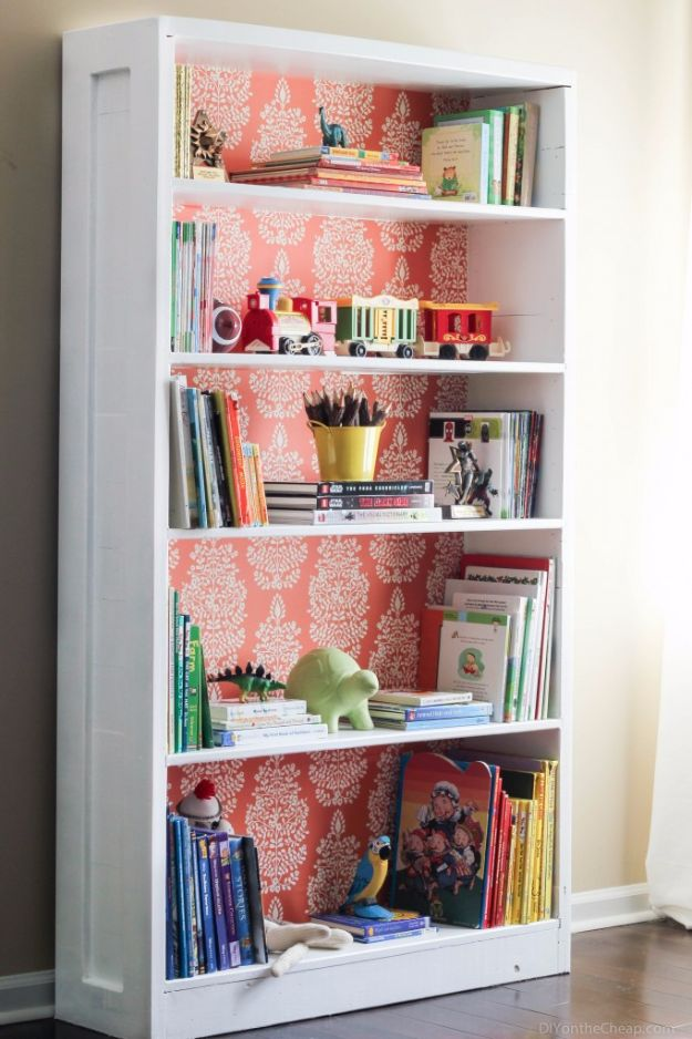 DIY Ideas for Wallpaper Scraps - Bookshelf Makeover - Cute Projects and Easy DIY Gift Ideas to Make With Leftover Wall Paper - Fun Home Decor, Homemade Wall Art Idea Tutorials, Creative Ways to Use Old Wallpapers - Cool Crafts for Men, Women and Teens http://diyjoy.com/diy-ideas-wallpaper-scraps