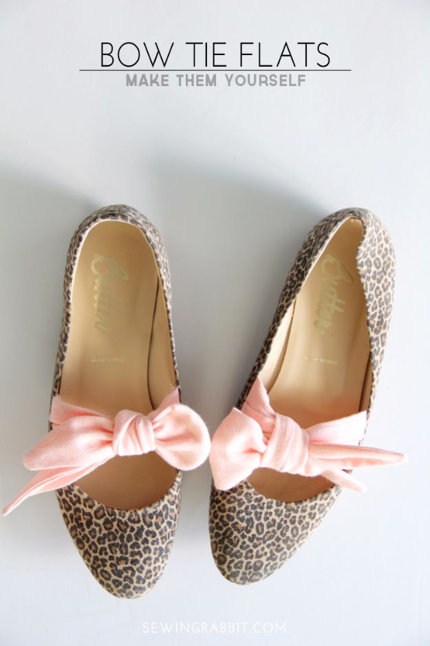 DIY Fashion for Spring - Bow Tie Flats DIY - Easy Homemade Clothing Tutorials and Things To Make To Wear - Cute Patterns and Projects for Women to Make, T-Shirts, Skirts, Dresses, Shorts and Ideas for Jeans and Pants - Tops, Tanks and Tees With Free Tutorial Ideas and Instructions http://diyjoy.com/fashion-for-spring