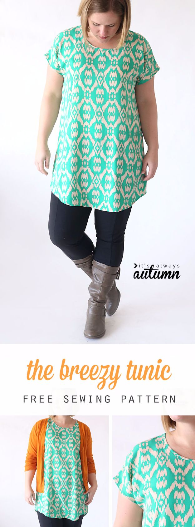 DIY Fashion for Spring - Breezy Tee Tunic - Easy Homemade Clothing Tutorials and Things To Make To Wear - Cute Patterns and Projects for Women to Make, T-Shirts, Skirts, Dresses, Shorts and Ideas for Jeans and Pants - Tops, Tanks and Tees With Free Tutorial Ideas and Instructions http://diyjoy.com/fashion-for-spring