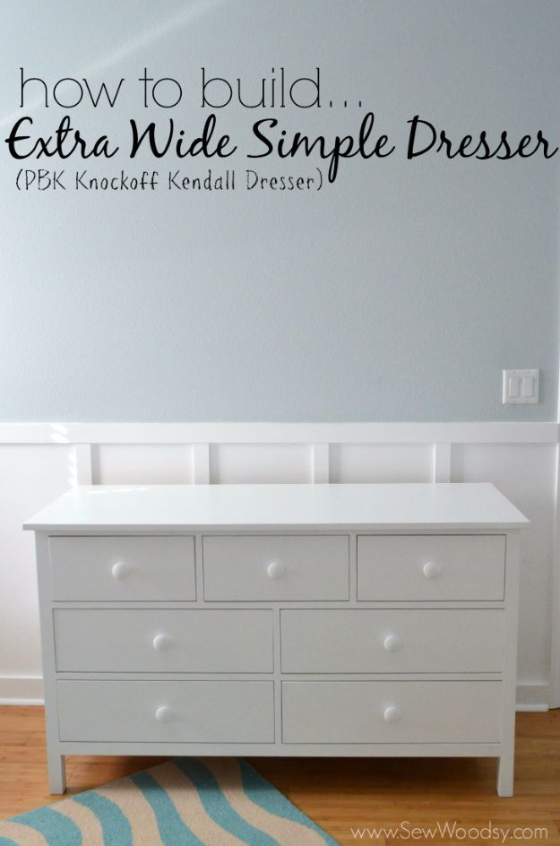 DIY Dressers - Build an Extra Wide Simple Dresser - Simple DIY Dresser Ideas - Easy Dresser Upgrades and Makeovers to Create Cool Bedroom Decor On A Budget- Do It Yourself Tutorials and Instructions for Decorating Cheap Furniture - Crafts for Women, Men and Teens http://diyjoy.com/diy-dresser-ideas