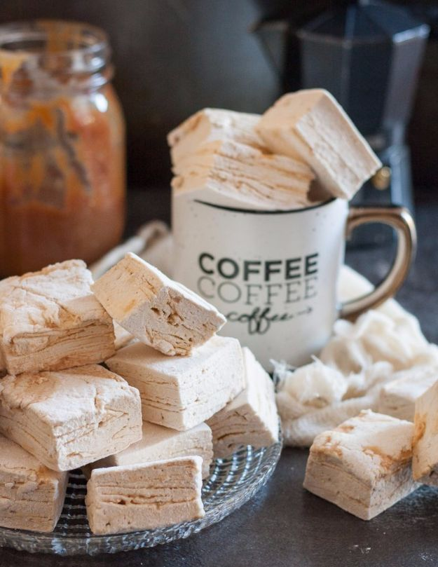 DIY Ideas for The Coffee Lover - Caramel Latte Marshmallows - Easy and Cool Gift Ideas for People Who Love Coffee Drinks - Coaster, Cups and Mugs, Tumblers, Canisters and Do It Yourself Gift Ideas - Gift Jars and Baskets, Fun Presents to Make for Mom, Dad and Friends http://diyjoy.com/diy-ideas-coffee-lover