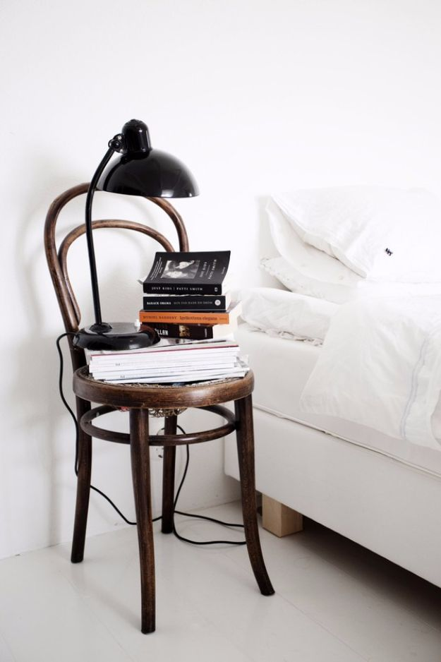DIY Nightstands for the Bedroom - Chair Nightstand - Easy Do It Yourself Bedside Tables and Furniture Project Ideas - Thrift Store Makeovers For Your Room and Bed Side Night Stand - Storage for Books and Remotes, Cute Shabby Chic and Vintage Decor - Step by Step Tutorials and Instructions http://diyjoy.com/diy-nightstands-bedroom