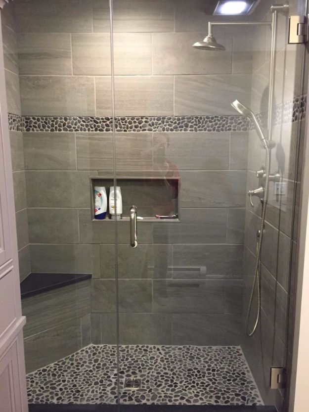 DIY Tile Ideas - Charcoal Black Pebble Tile Border Shower Accent - Creative Crafts for Bathroom, Kitchen, Living Room, and Fireplace - Awesome Shower and Bathtub Ideas - Fun and Easy Home Decor Projects - How To Make Rustic Entryway Art #homeimprovement #diy