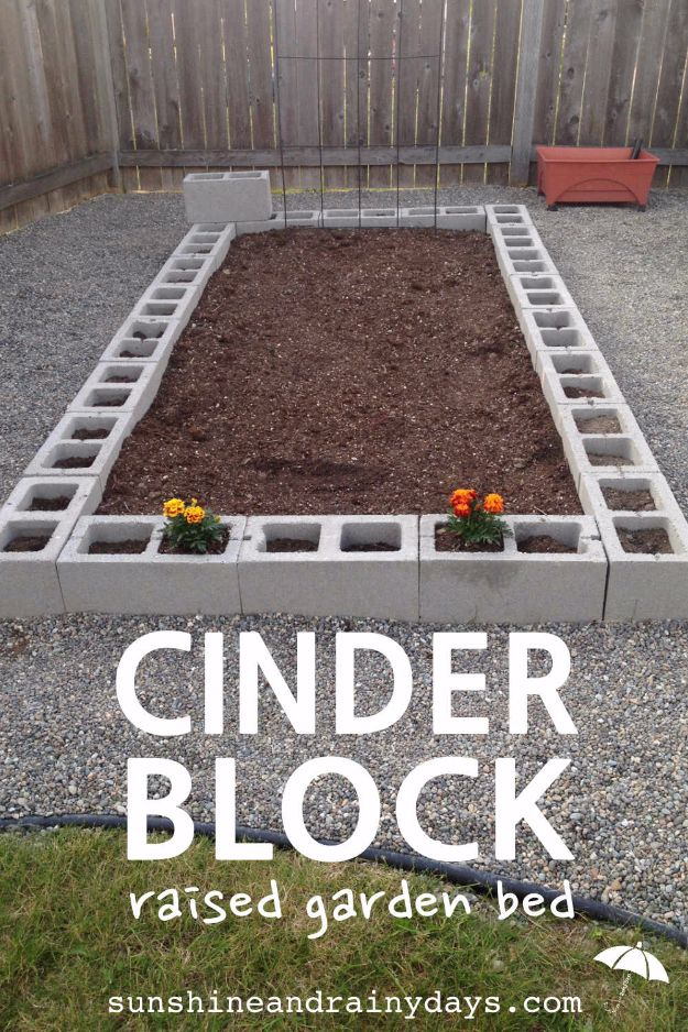 DIY Garden Beds - Cinder Block Raised Garden Bed - Easy Gardening Ideas for Raised Beds and Planter Boxes - Free Plans, Tutorials and Step by Step Tutorials for Building and Landscaping Projects - Update Your Backyard and Gardens With These Cheap Do It Yourself Ideas http://diyjoy.com/diy-garden-beds