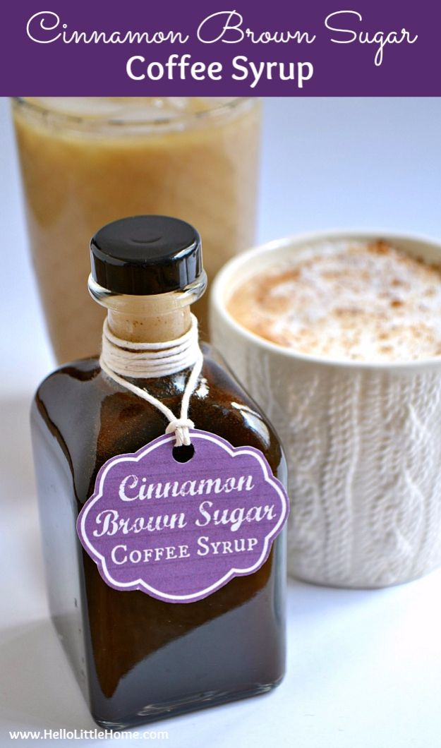 DIY Ideas for The Coffee Lover - Cinnamon Brown Sugar Coffee Syrup - Easy and Cool Gift Ideas for People Who Love Coffee Drinks - Coaster, Cups and Mugs, Tumblers, Canisters and Do It Yourself Gift Ideas - Gift Jars and Baskets, Fun Presents to Make for Mom, Dad and Friends http://diyjoy.com/diy-ideas-coffee-lover