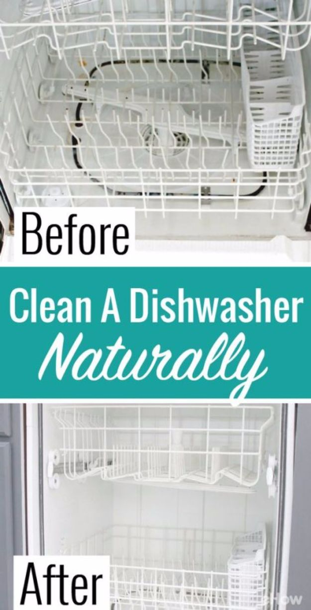 Best Spring Cleaning Ideas - Clean Inside a Dishwasher - Easy Cleaning Tips For Home - DIY Cleaning Hacks and Product Recipes - Tips and Tricks for Cleaning the Bathroom, Kitchen, Floors and Countertops - Cheap Solutions for A Clean House #springcleaning