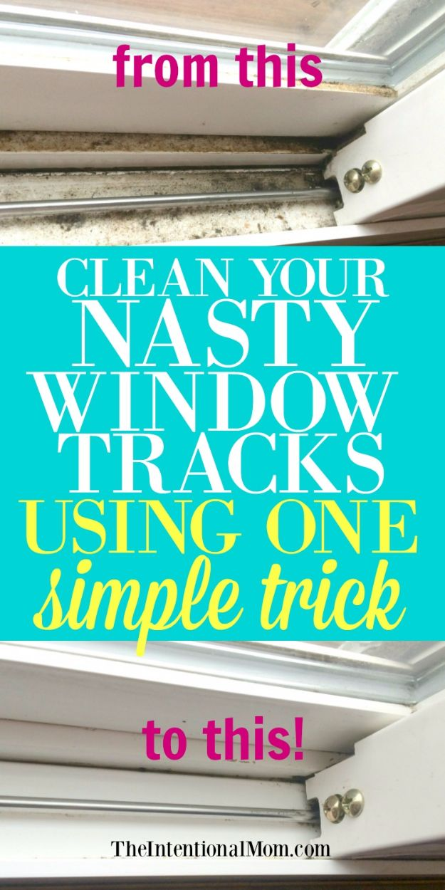 Best Spring Cleaning Ideas - Clean Your Nasty Window Tracks Using One Simple Trick - Easy Cleaning Tips For Home - DIY Cleaning Hacks and Product Recipes - Tips and Tricks for Cleaning the Bathroom, Kitchen, Floors and Countertops - Cheap Solutions for A Clean House #springcleaning