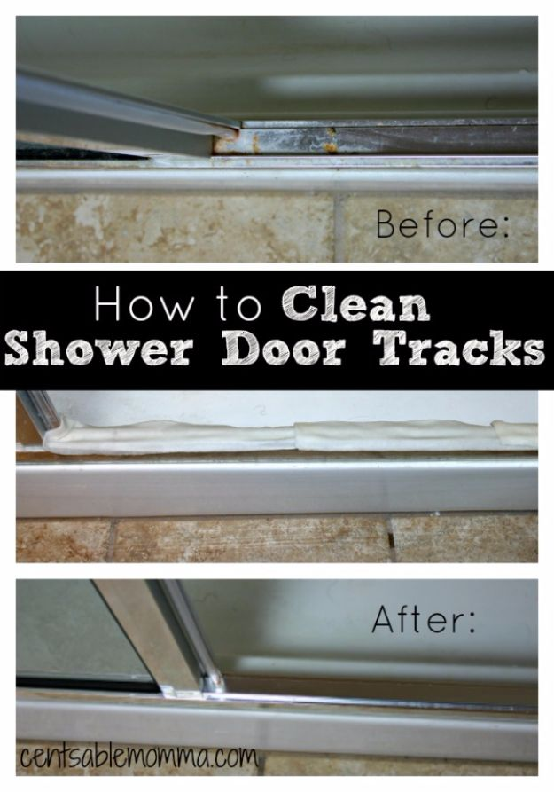 Best Spring Cleaning Ideas - Clean Your Shower Door Tracks - Easy Cleaning Tips For Home - DIY Cleaning Hacks and Product Recipes - Tips and Tricks for Cleaning the Bathroom, Kitchen, Floors and Countertops - Cheap Solutions for A Clean House #springcleaning