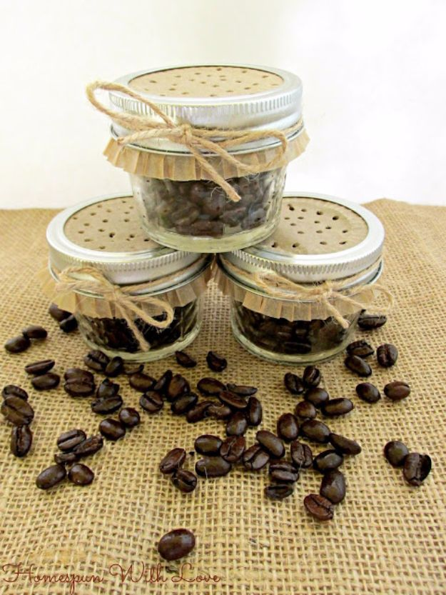 DIY Ideas for The Coffee Lover - Coffee Bean Fragrance Jars - Easy and Cool Gift Ideas for People Who Love Coffee Drinks - Coaster, Cups and Mugs, Tumblers, Canisters and Do It Yourself Gift Ideas - Gift Jars and Baskets, Fun Presents to Make for Mom, Dad and Friends http://diyjoy.com/diy-ideas-coffee-lover