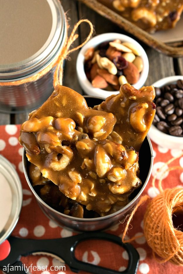DIY Ideas for The Coffee Lover - Coffee Nut Brittle - Easy and Cool Gift Ideas for People Who Love Coffee Drinks - Coaster, Cups and Mugs, Tumblers, Canisters and Do It Yourself Gift Ideas - Gift Jars and Baskets, Fun Presents to Make for Mom, Dad and Friends http://diyjoy.com/diy-ideas-coffee-lover