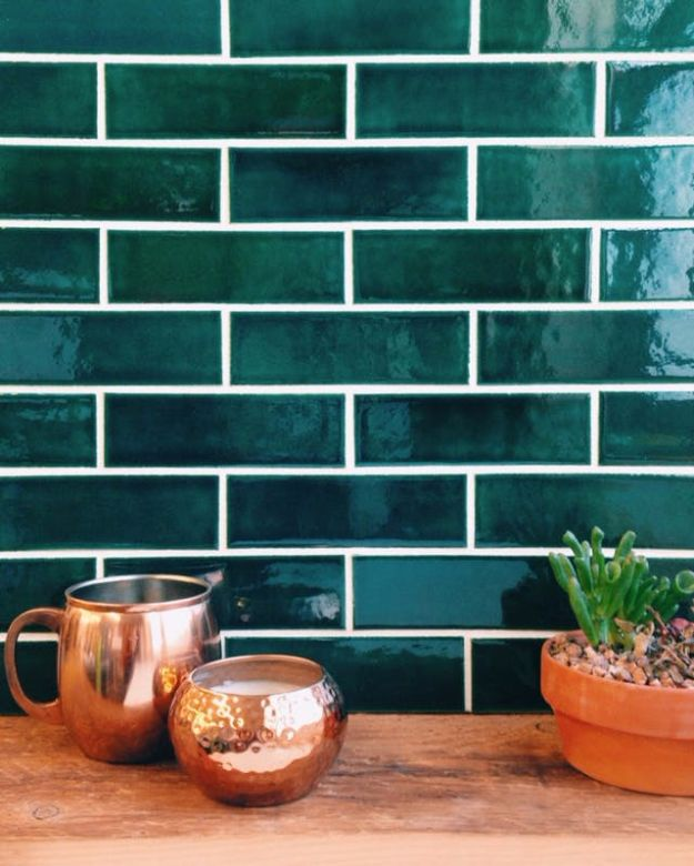 DIY Tile Ideas - Colored Subway Tile - Creative Crafts for Bathroom, Kitchen, Living Room, and Fireplace - Awesome Shower and Bathtub Ideas - Fun and Easy Home Decor Projects - How To Make Rustic Entryway Art #homeimprovement #diy
