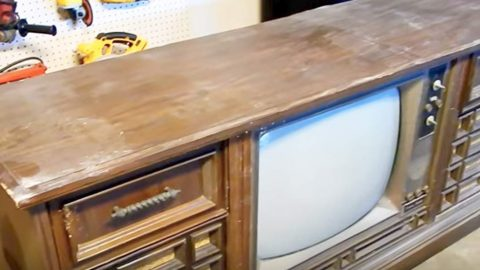 You'll Be Amazed When You See What She Turns This Ugly Old Console TV Into! | DIY Joy Projects and Crafts Ideas