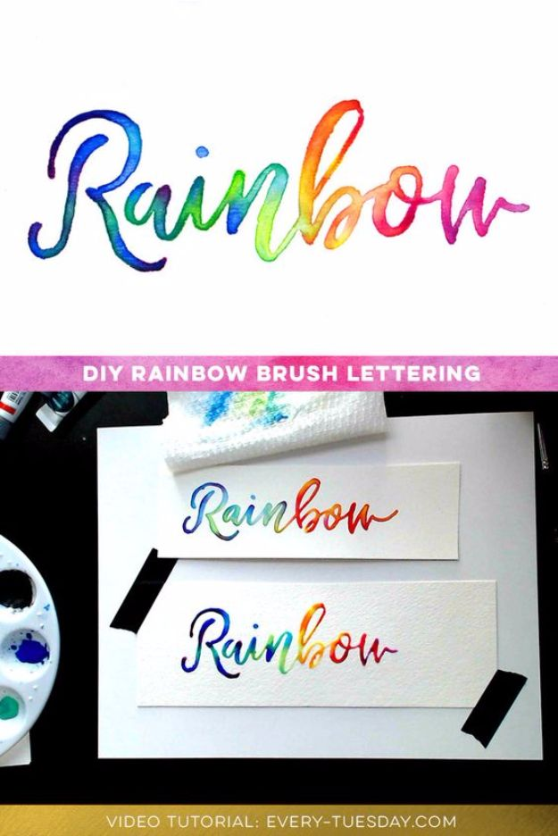 Brush Lettering Tutorials - Create Colorful Rainbow Brush Lettering - Simple and Fun Calligraphy Tutorial Videos - How To Paint the Alphabet in Calligraphy Handwriting with Pens, Watercolors, Adobe Illustrator and Sharpie - Typography Tips and Help http://diyjoy.com/brush-lettering-tutorials
