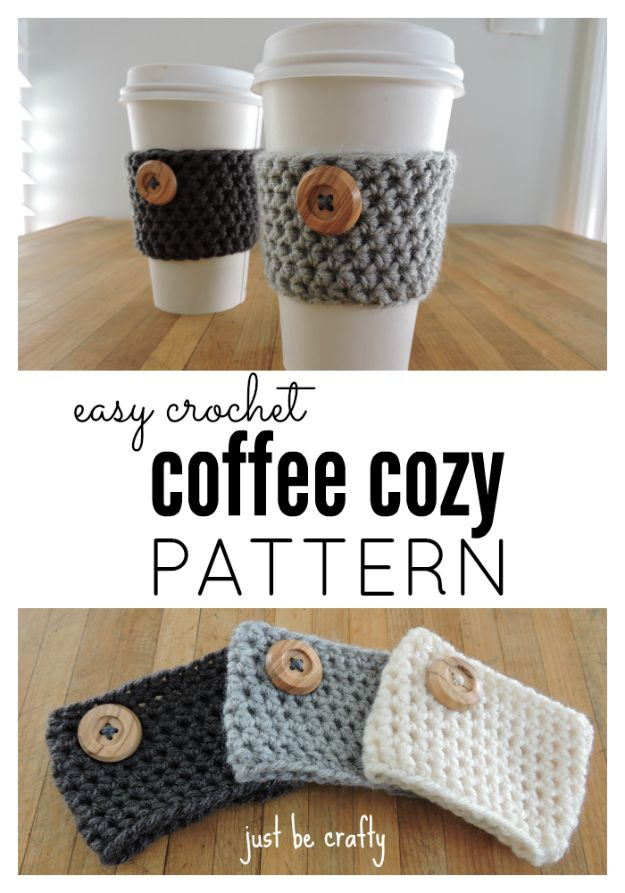 DIY Ideas for The Coffee Lover - Crochet Coffee Cozy Pattern - Easy and Cool Gift Ideas for People Who Love Coffee Drinks - Coaster, Cups and Mugs, Tumblers, Canisters and Do It Yourself Gift Ideas - Gift Jars and Baskets, Fun Presents to Make for Mom, Dad and Friends http://diyjoy.com/diy-ideas-coffee-lover