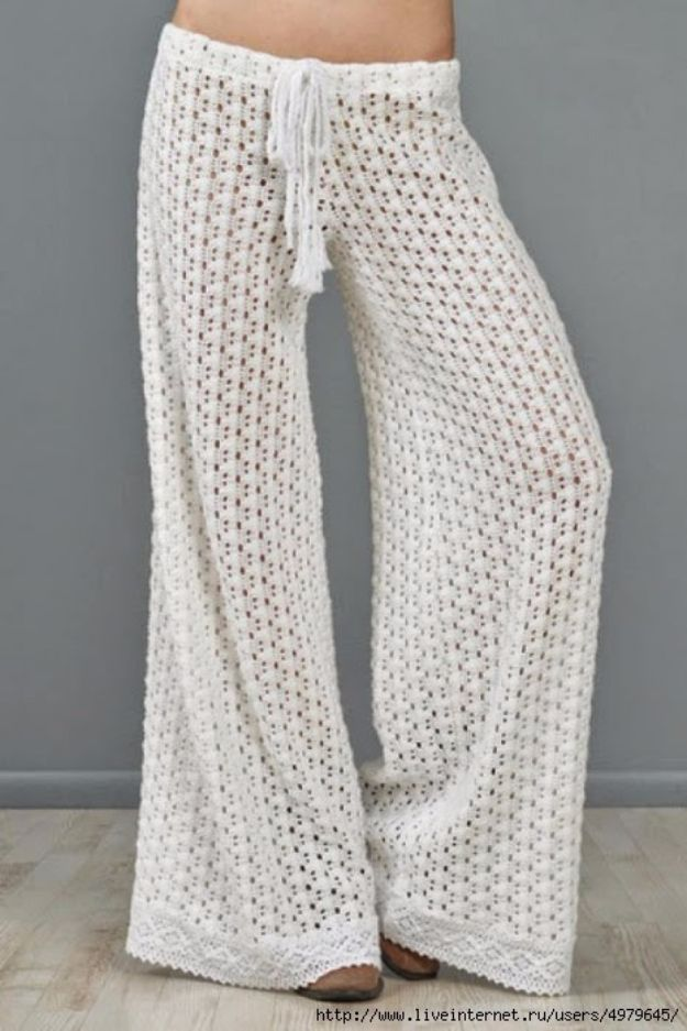 DIY Fashion for Spring - Crochet Pants - Easy Homemade Clothing Tutorials and Things To Make To Wear - Cute Patterns and Projects for Women to Make, T-Shirts, Skirts, Dresses, Shorts and Ideas for Jeans and Pants - Tops, Tanks and Tees With Free Tutorial Ideas and Instructions http://diyjoy.com/fashion-for-spring