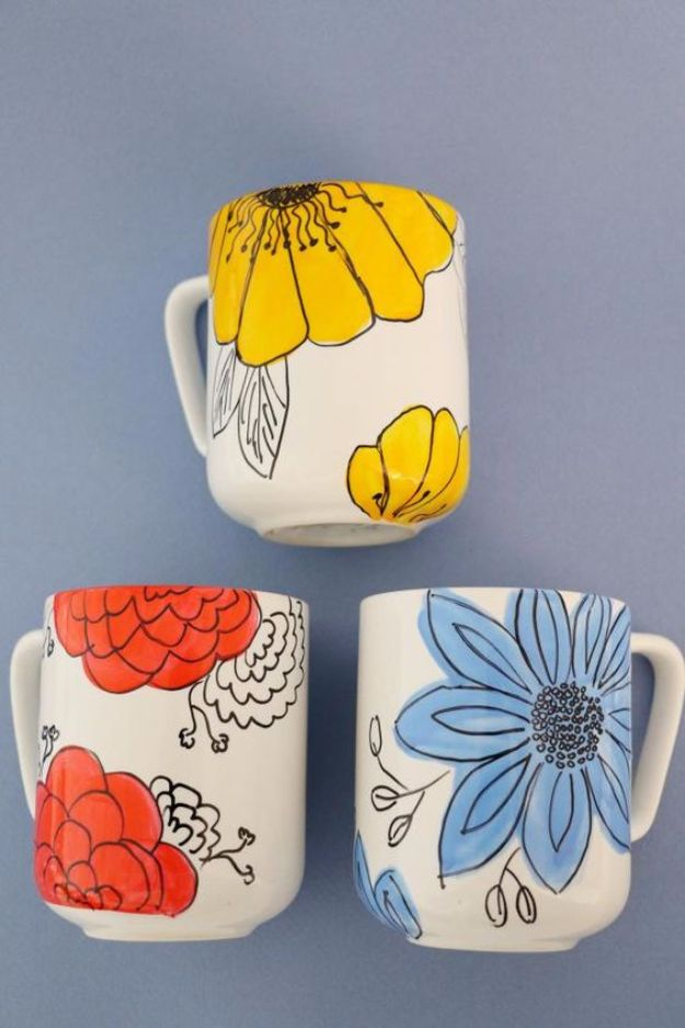 DIY Coffee Mugs - Customize Coffee Mugs With Hand-Drawn Flowers - Easy Coffee Mug Ideas for Homemade Gifts and Crafts - Decorate Your Coffee Cups and Tumblers With These Cool Art Ideas - Glitter, Paint, Sharpie Craft, Nail Polish Water Marble and Teen Projects #diygifts #easydiy