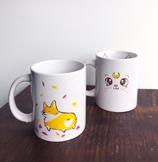 DIY Coffee Mugs - Cute Hand Painted Mugs - Easy Coffee Mug Ideas for Homemade Gifts and Crafts - Decorate Your Coffee Cups and Tumblers With These Cool Art Ideas - Glitter, Paint, Sharpie Craft, Nail Polish Water Marble and Teen Projects http://diyjoy.com/diy-coffee-mugs