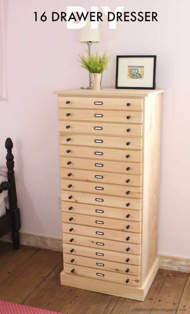 DIY Dressers - DIY 16-Drawer Dresser - Simple DIY Dresser Ideas - Easy Dresser Upgrades and Makeovers to Create Cool Bedroom Decor On A Budget- Do It Yourself Tutorials and Instructions for Decorating Cheap Furniture - Crafts for Women, Men and Teens http://diyjoy.com/diy-dresser-ideas