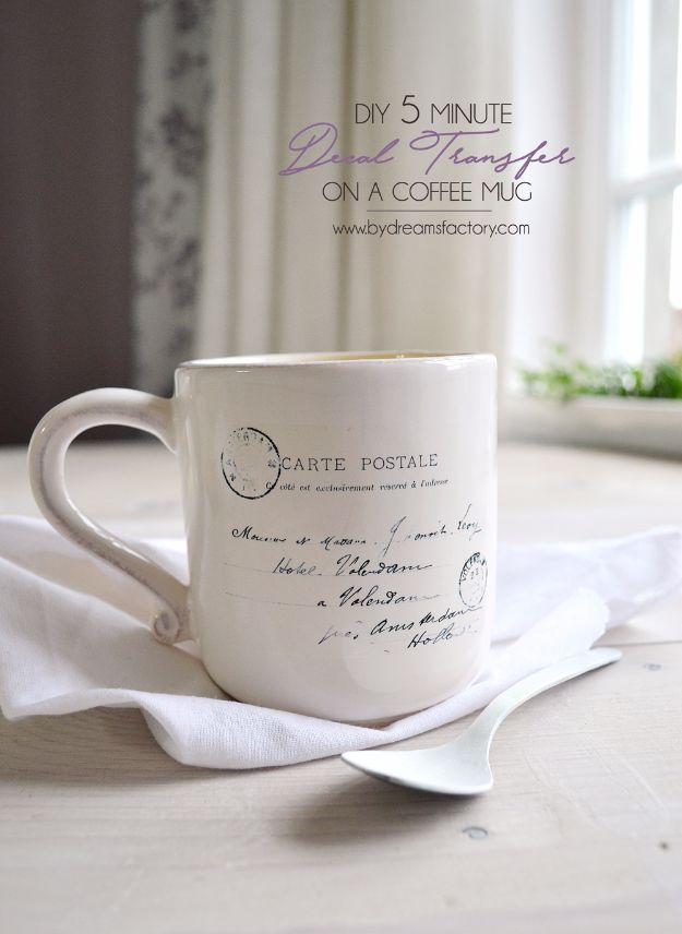 Quick DIY Coffee Mugs - DIY 5-Minute Decal Transfer On A Coffee Mug - Easy Coffee Mug Ideas for Homemade Gifts and Crafts - Decorate Your Coffee Cups and Tumblers With These Cool Art Ideas - Glitter, Paint, Sharpie Craft, Nail Polish Water Marble and Teen Projects #diygifts #easydiy