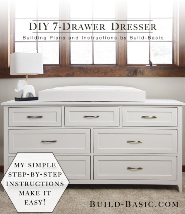 DIY Dressers - DIY 7-Drawer Dresser - Simple DIY Dresser Ideas - Easy Dresser Upgrades and Makeovers to Create Cool Bedroom Decor On A Budget- Do It Yourself Tutorials and Instructions for Decorating Cheap Furniture - Crafts for Women, Men and Teens http://diyjoy.com/diy-dresser-ideas