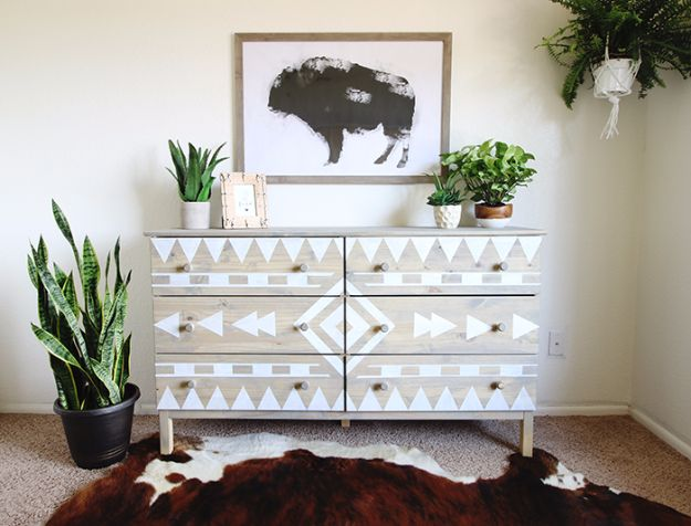 DIY Dressers - DIY Aztec Inspired Dresser - Simple DIY Dresser Ideas - Easy Dresser Upgrades and Makeovers to Create Cool Bedroom Decor On A Budget- Do It Yourself Tutorials and Instructions for Decorating Cheap Furniture - Crafts for Women, Men and Teens http://diyjoy.com/diy-dresser-ideas