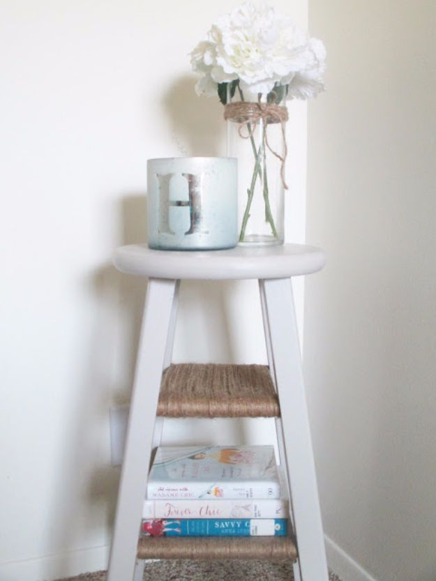 DIY Nightstands for the Bedroom - DIY Barstool Nightstand - Easy Do It Yourself Bedside Tables and Furniture Project Ideas - Thrift Store Makeovers For Your Room and Bed Side Night Stand - Storage for Books and Remotes, Cute Shabby Chic and Vintage Decor - Step by Step Tutorials and Instructions http://diyjoy.com/diy-nightstands-bedroom