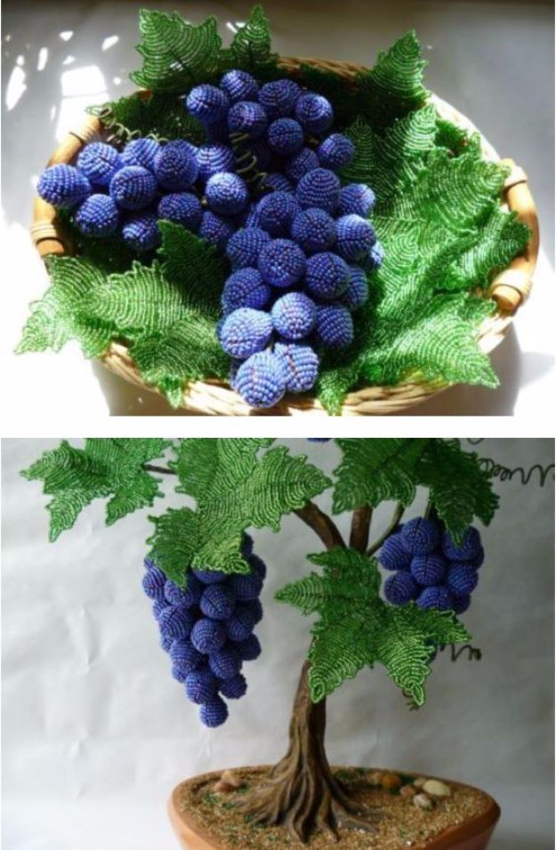 DIY Ideas With Beads - DIY Beautiful Beaded Grape Vine - Cool Crafts and Do It Yourself Ideas Made With Beads - Outdoor Windchimes, Indoor Wall Art, Cute and Easy DIY Gifts - Fun Projects for Kids, Adults and Teens - Bead Project Tutorials With Step by Step Instructions - Best Crafts To Make and Sell on Etsy