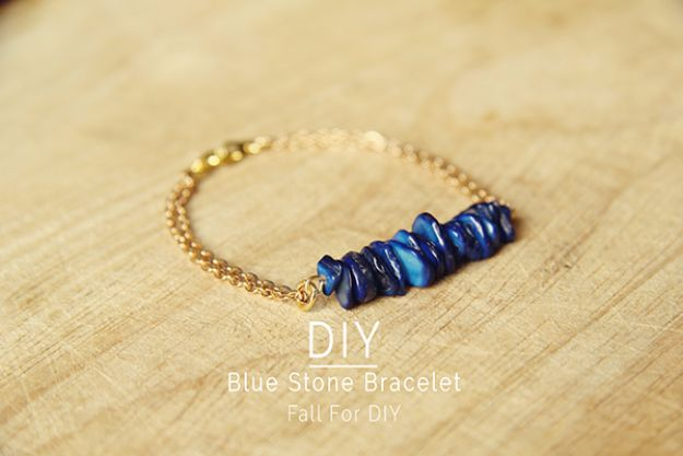 DIY Fashion for Spring - DIY Blue Stone Bracelet - Easy Homemade Clothing Tutorials and Things To Make To Wear - Cute Patterns and Projects for Women to Make, T-Shirts, Skirts, Dresses, Shorts and Ideas for Jeans and Pants - Tops, Tanks and Tees With Free Tutorial Ideas and Instructions http://diyjoy.com/fashion-for-spring