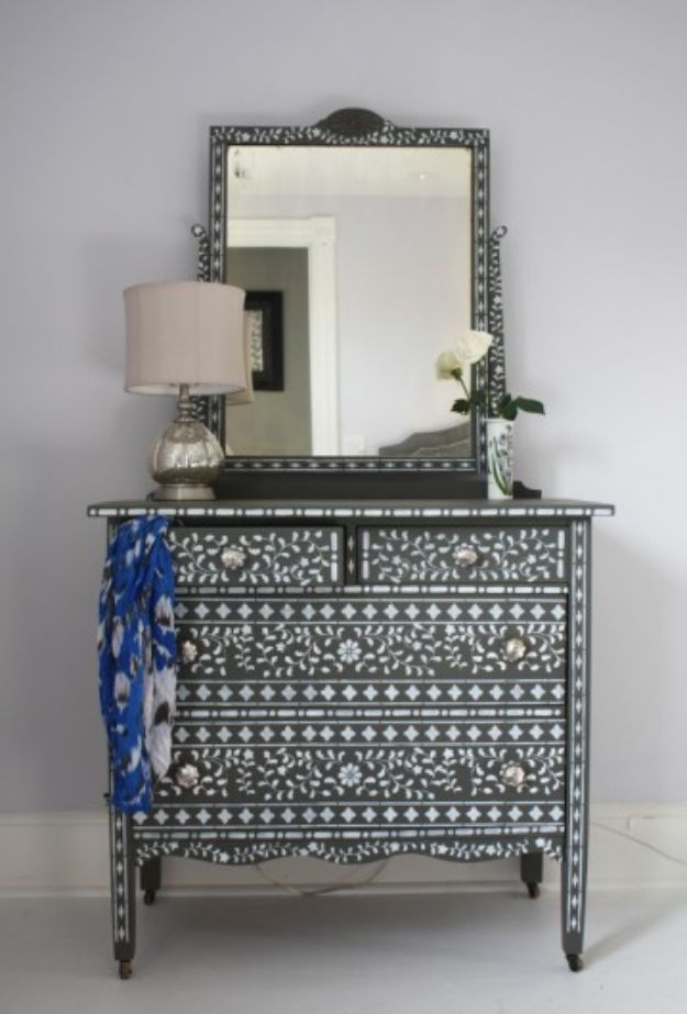DIY Dressers - DIY Bone Inlay Dresser - Simple DIY Dresser Ideas - Easy Dresser Upgrades and Makeovers to Create Cool Bedroom Decor On A Budget- Do It Yourself Tutorials and Instructions for Decorating Cheap Furniture - Crafts for Women, Men and Teens http://diyjoy.com/diy-dresser-ideas